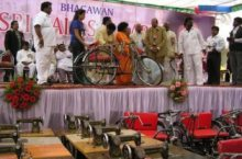 Distribution of tricycles for handycaped people from the Balasai Trust