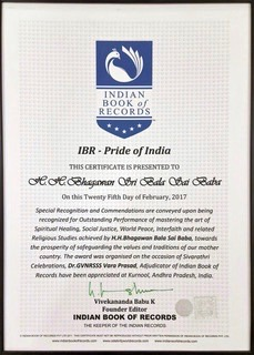 AWARD for Sri Bala Sai Baba from INDIAN BOOK OF RECORDS